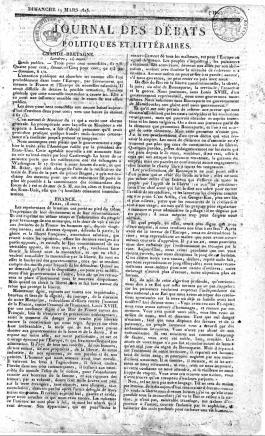 """La prima pagina del """"Journal des débats"""" del 19 marzo 1815"""